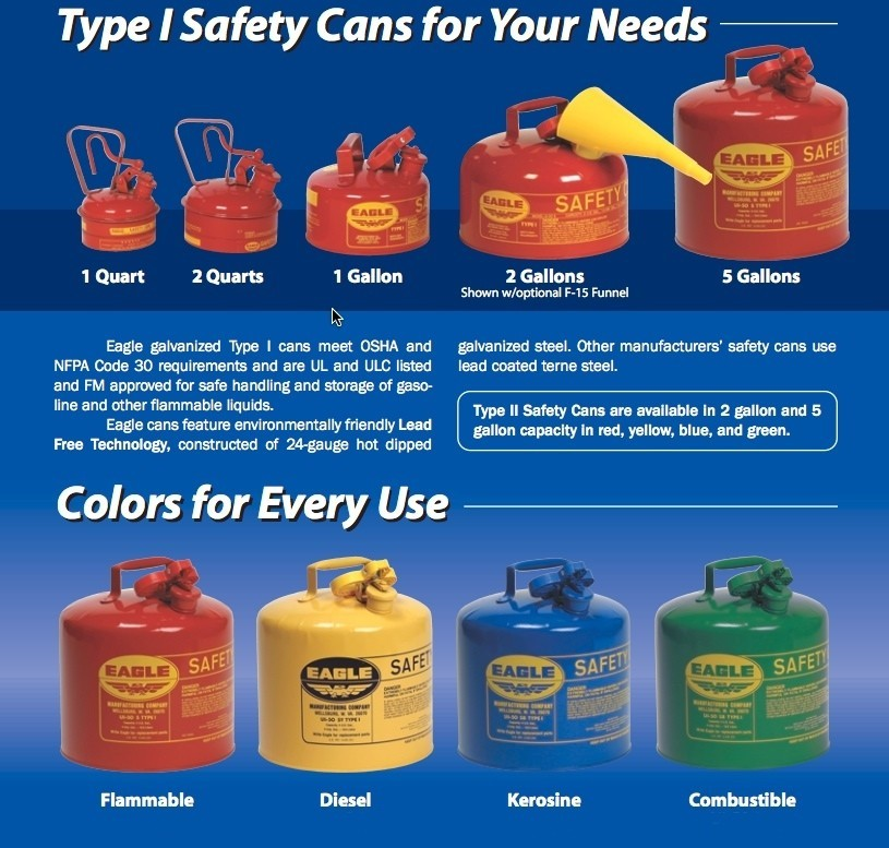 Eagle Gas Cans Fuel Containers 5 Gallon Type 1 Gasoline Cans