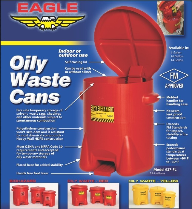 oily waste can features