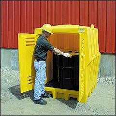 hard top 4 drum spill containemt pallet and poly storage building for outside