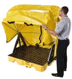 soft top covered spill containment pallet 4 drum