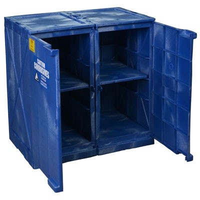 blue poly safety cabinet for corrosive acids