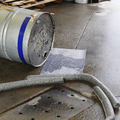 Industrial drum spill