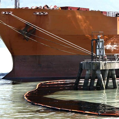 oil containment boom with ship
