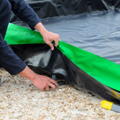 collapsible berm PVC sidewall assembly