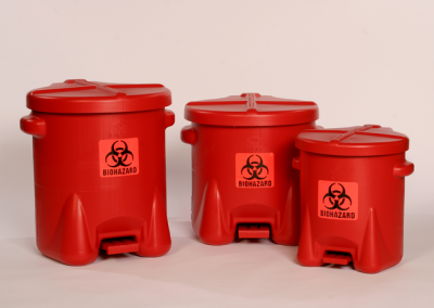14, 10, 6 gallon red biohazard waste containers