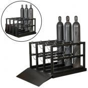 12-gas cylinder forklift pallet barricade rack with ramp A35226J
