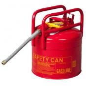 5 Gallon DOT Approved Gas Cans, Red, Flexible 7/8