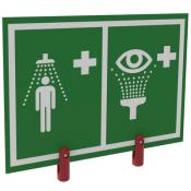 safety shower eyewash station sign with plastic brackets