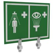 safety shower eyewash station sign with metal brackets