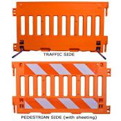 orange ADA-compliant pedestrian barricade panel