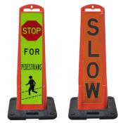 vertical panel barricades with messaging