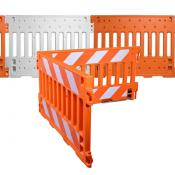 pedestrian barricades with and without sheeting