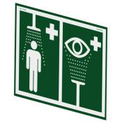 wall mount safety shower eyewash station sign