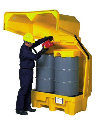 A1082U Two Drum Lift Top Storage (drum spill containment pallet)