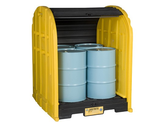 outdoor drum storage for drum spill containment