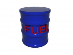 A single fuel drum isolated on a white background.