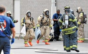 Emergency service response at workplace chemical spill
